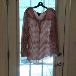 Chelsea  & Theodore  blouse pink black polka dot s